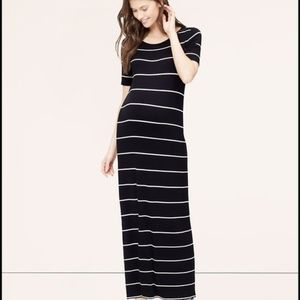 Ann Taylor loft Striped Short Sleeve Maxi Dress